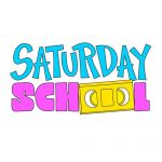 "logo for Saturday School, blue and pink text with the ""oo"" of ""school"" made with a VHS cassette."