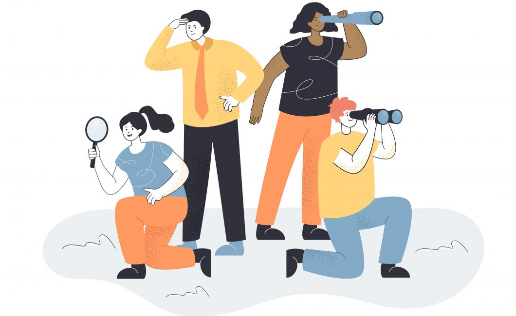 Vector image of four people searching in different directions, with telescopes and magnifying glass